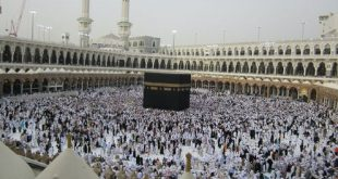 Muslims start the hajj by circling the Kaaba, the black, cube-shaped house of God. UmmSqueaky, CC BY-NC