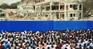 Hundreds gather for prayer at the scene of a massive truck bomb attack in Mogadishu in October 2017, the deadliest to hit conflict-torn Somalia.