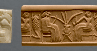 Cylinder seal (left) and modern impression (right) showing two people drinking beer through long straws. Khafajeh, Iraq (Early Dynastic period, c. 2600–2350 B.C.). Courtesy of the Oriental Institute of the University of Chicago