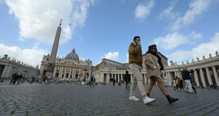 Only a handful of tourists at the usually busy St. Peter's Square at the Vatican. Vincenzo Pinto/AFP via Getty Images
