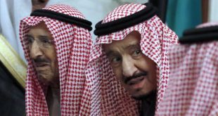 Saudi King Salman accompanies Kuwait's emir, Sheikh Sabah Al Ahmad Al Sabah, left, during the 40th Gulf Cooperation Council Summit in Riyadh, Saudi Arabia, in December 2019. (AP Photo/Amr Nabil)
