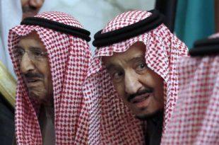 Saudi King Salman accompanies Kuwait's emir, Sheikh Sabah Al Ahmad Al Sabah, left, during the 40th Gulf Cooperation Council Summit in Riyadh, Saudi Arabia, in December 2019. (AP Photo/Amr Nabil)