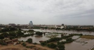 A view of flooded farmland on the riverbank and swelling Blue Nile as its water level rises after heavy rainfall in Khartoum, Sudan Photo by Mahmoud Hjaj/Anadolu Agency via Getty Images