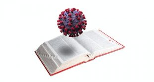The coronavirus forced the editors of the Oxford English Dictionary to break with tradition. Illustration by Anurag Papolu/The Conversation; dictionary photo by Spauln via Getty Images and model of COVID-19 by fpm/iStock via Getty Images , CC BY-SA